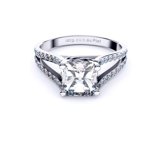 Radiant cross over split shank solitaire by Brisbane Diamond Company front page