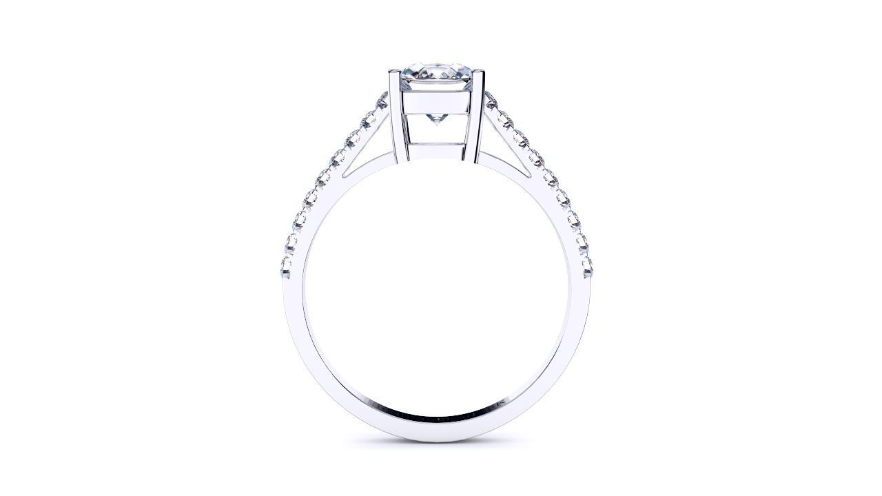 Brisbane diamonds cushion solitaire engagement ring with diamond set band