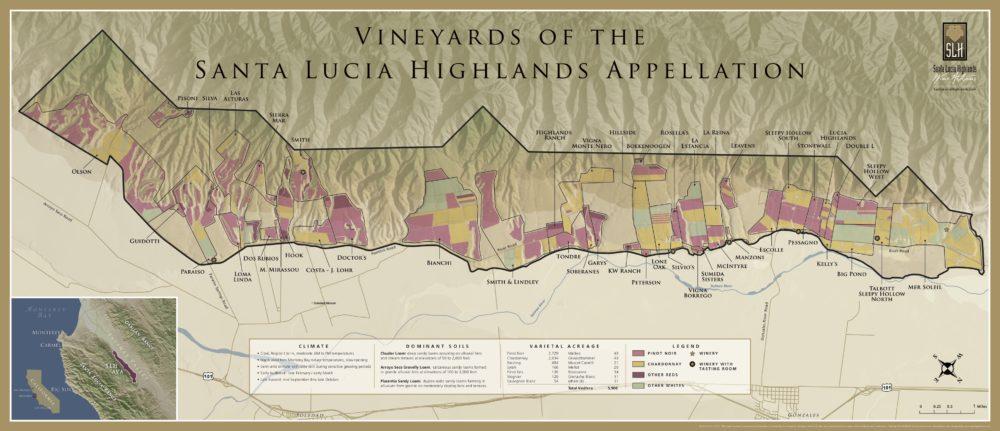 santa lucia highlands map The Santa Lucia Highlands Ava Monterey County Briscoe Bites santa lucia highlands map
