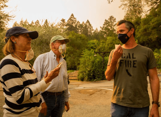 Governor Gavin Newsom visited with Napa Valley Reserve Director's Phillip and Carol Norfleet during the Glass Fire to see what the devastation was like on September 28, 2020 in St. Helena, CA.Photo: Nina Riggio / Special to The Chronicle