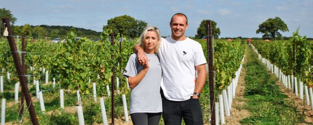 Joseph Beckett and girlfriend Rebecca, Kinsbrook Vineyard