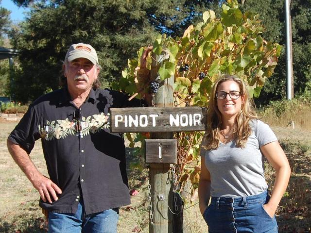 Ken Nerlove and his daughter Elise Nerlove in a 2019 photo at their vineyard above Jameson Canyon. They are members of Save the Family Farms, a group that wants farmers to be able to hold wine tastings at their farms in Napa County. Barry Eberling