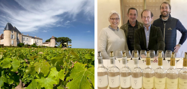 Pierre Lurton (center), Sandrine Garbay, Francis Mayeur and Lorenzo Pasquini (right), at the helm of Yquem.