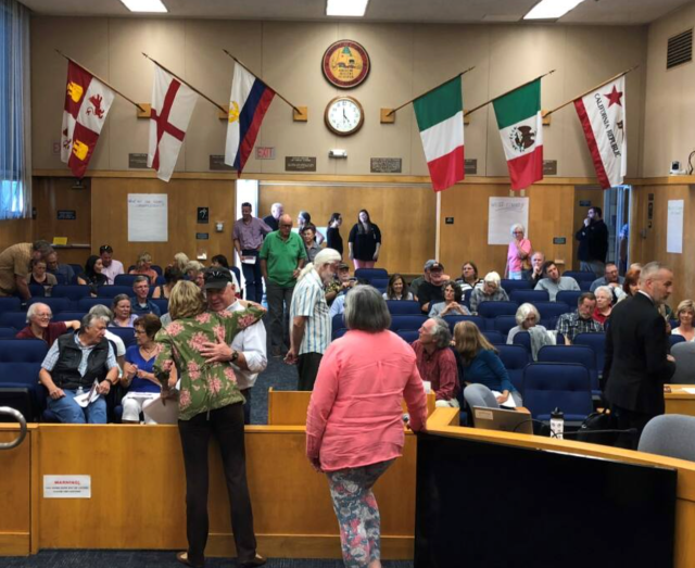 Sonoma County residents, mostly from the Fifth District, prepare to hear from Supervisor Lynda Hopkins during an August 2018 town hall about the county's winery events. Amie Windsor photo.