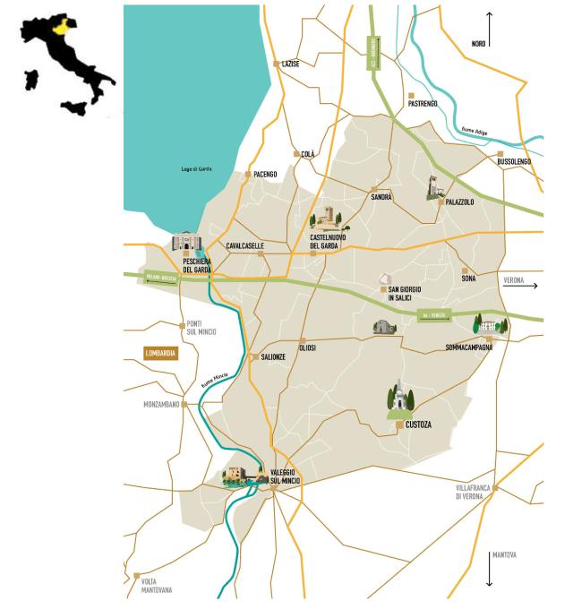 Maps courtesy CONSORZIO di TUTELA del VINO CUSTOZA DOC