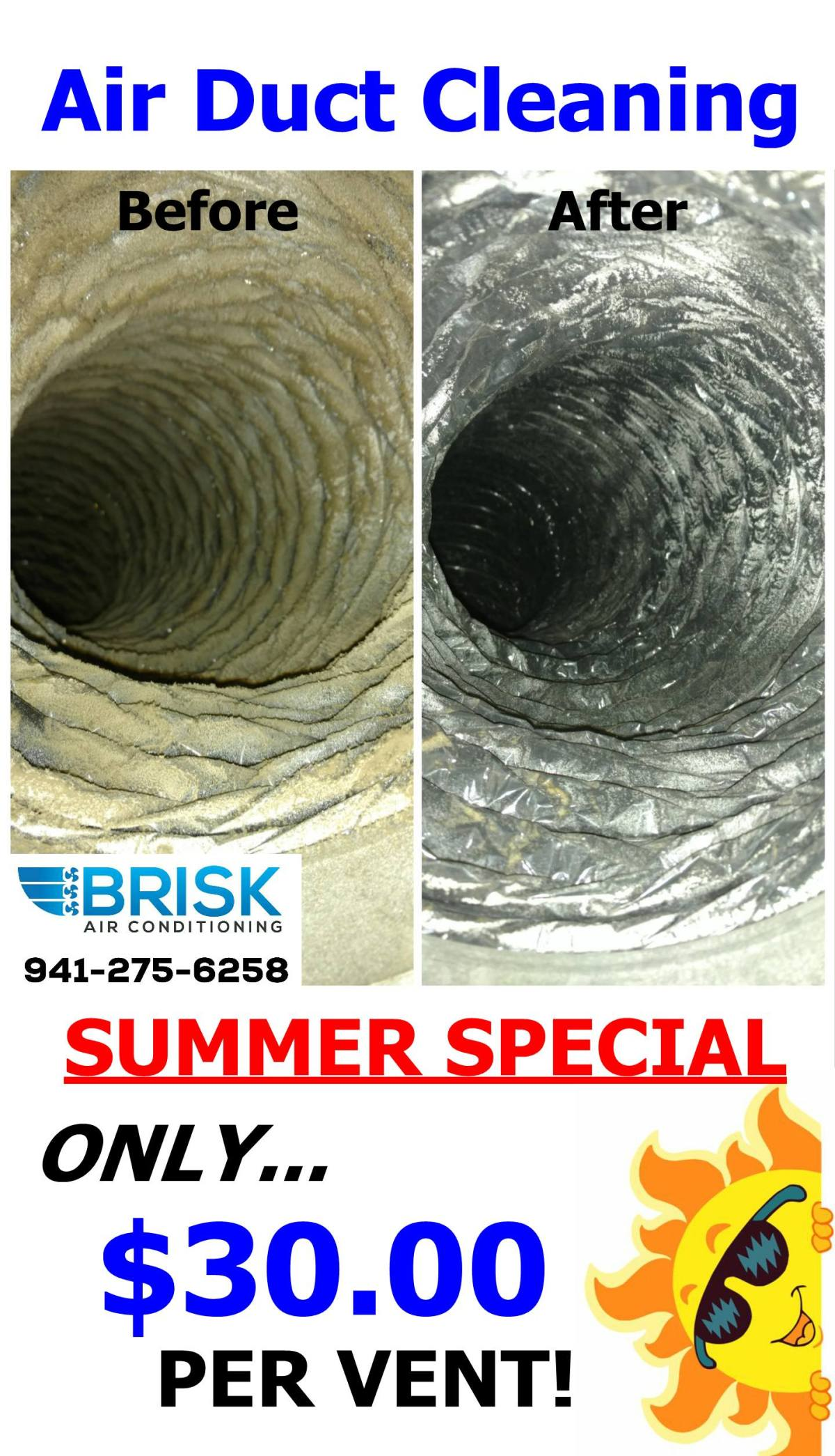Brisk Air Conditioning Duct Cleaning Special