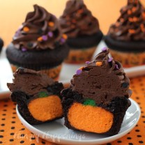 Chocolate Cupcake stuffed with Pumpkin Cheesecake
