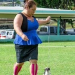 Stacia Ohira and Gus at the dog shows in Hawaii