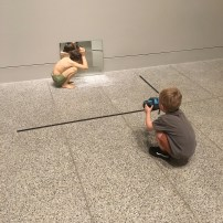 Get them to interact with the artwork by taking photos, doing some drawings or making up stories.