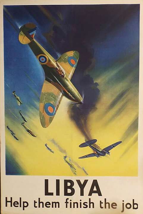 A poster, by Frank Wootton, showing a British Spitfire shooting down a German Heinkel bomber in the Middle East.