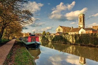 David Hallett -- Oxford Canal near Jericho with St Barnabas