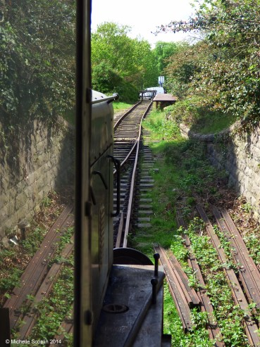 The view from the Ruston's footplate as it drags the Victorian locomotive out