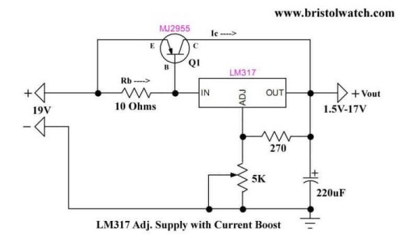 LM317 Adjustable Voltage Current Boost Power Supply