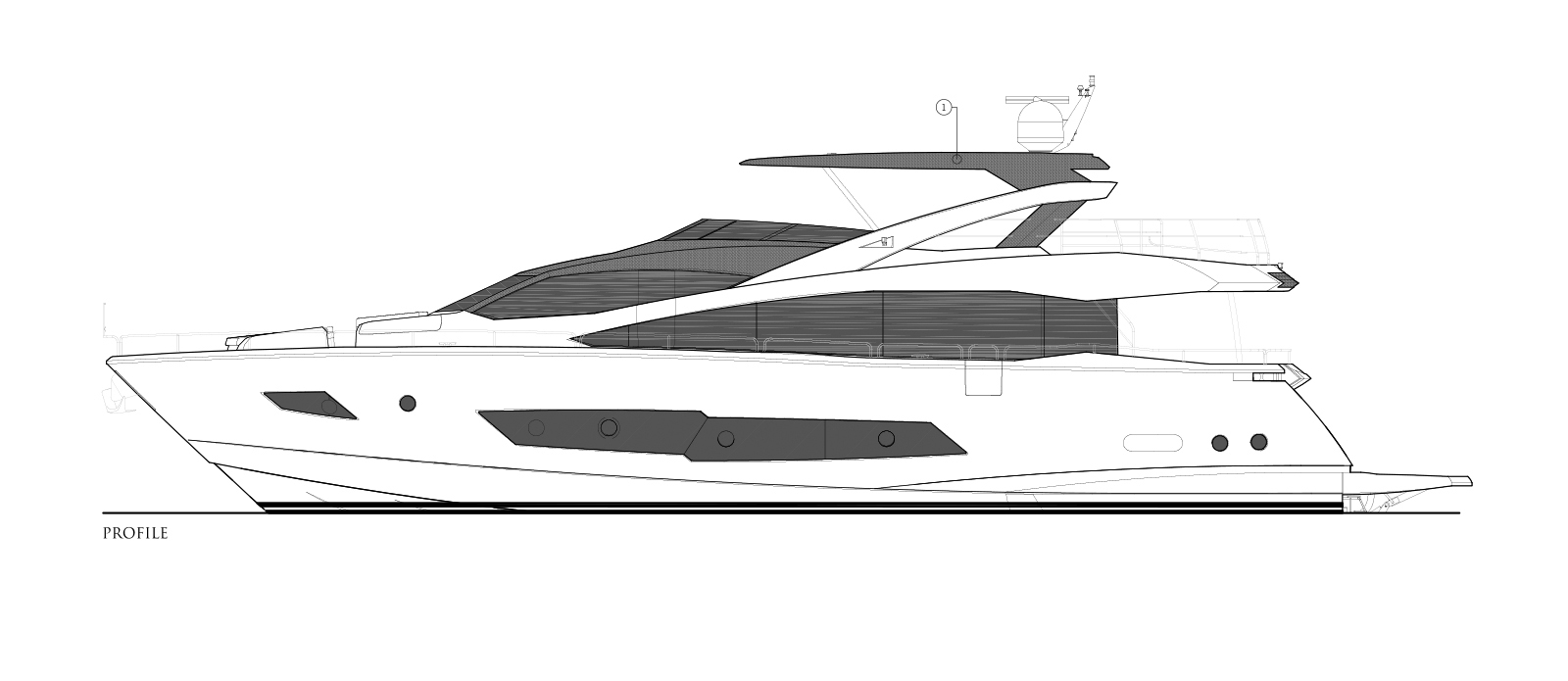 Sunseeker 86 Yacht - Side Profile - Layout