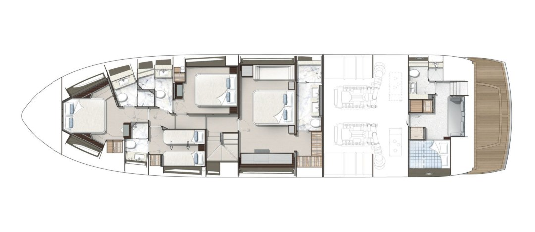 Sunseeker 76 Yacht - Lower Deck Layout