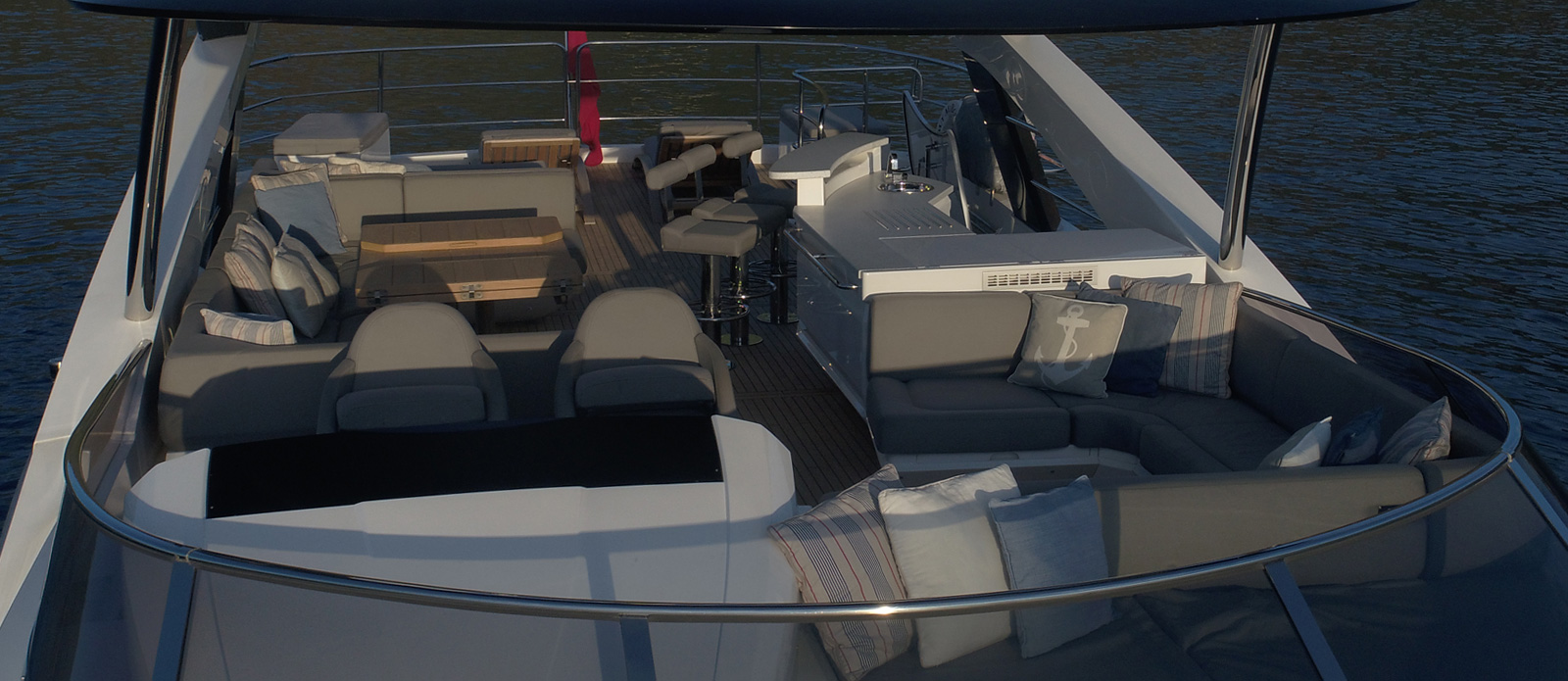 Sunseeker 86 Yacht MiBowt Flybridge Shot
