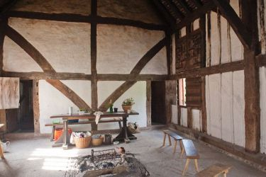 Weald and Downland Open Air Museum Photo Interior of medieval hall house