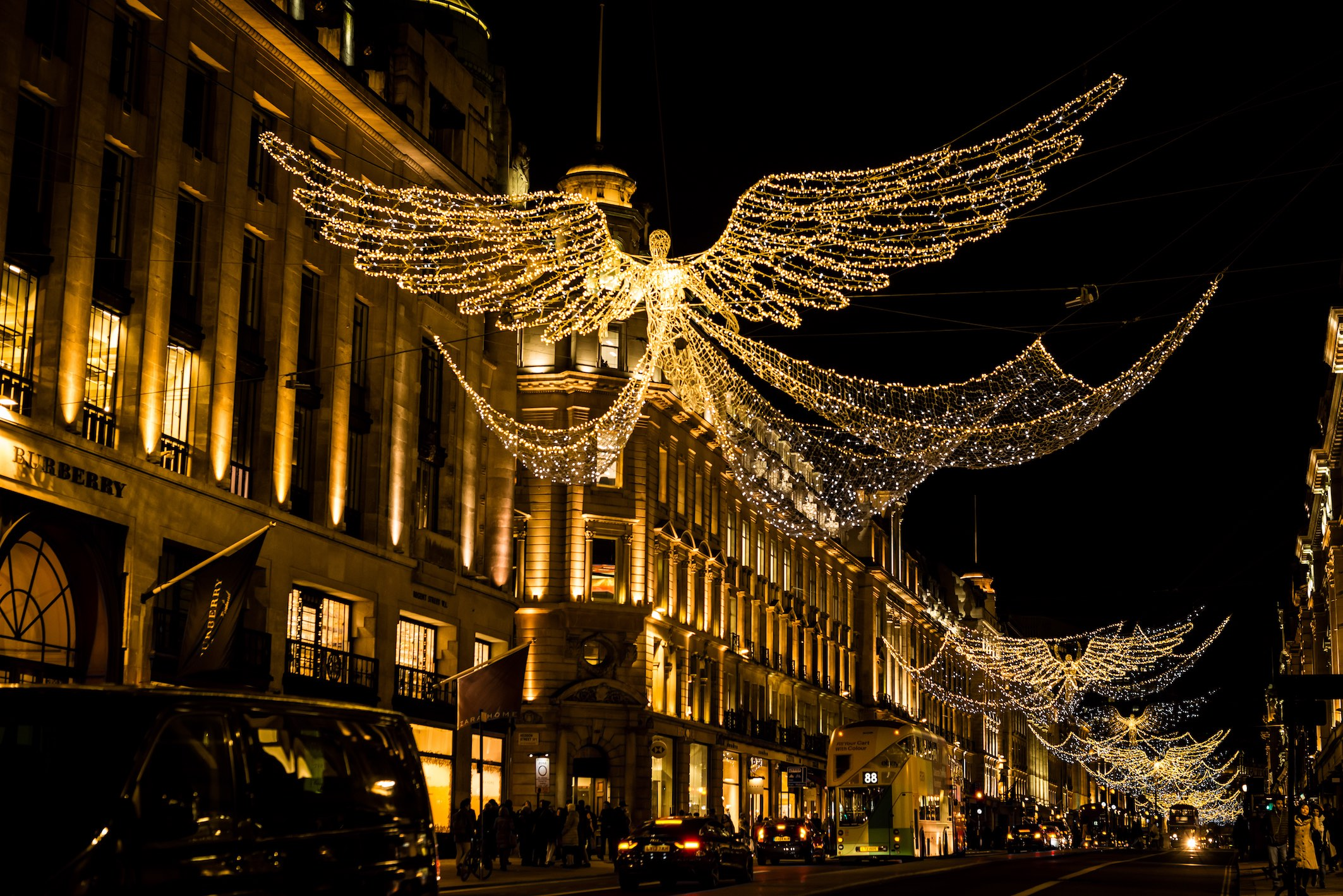 Flying Angels Christmas lights in London