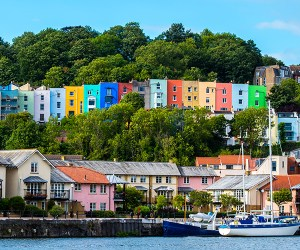 Brightly coloured houses in Bristol