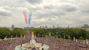 The Red Arrows Display Team over London