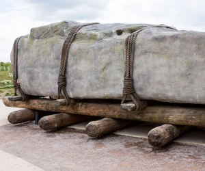 Close up of stones being moved at Stonehenge