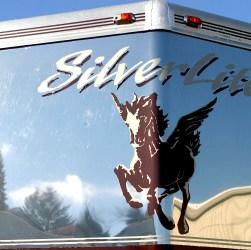 Shiny stainless cap of Silverlite Aluminum Horse Trailer