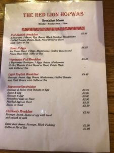 Red Lion Menu - Hopwas