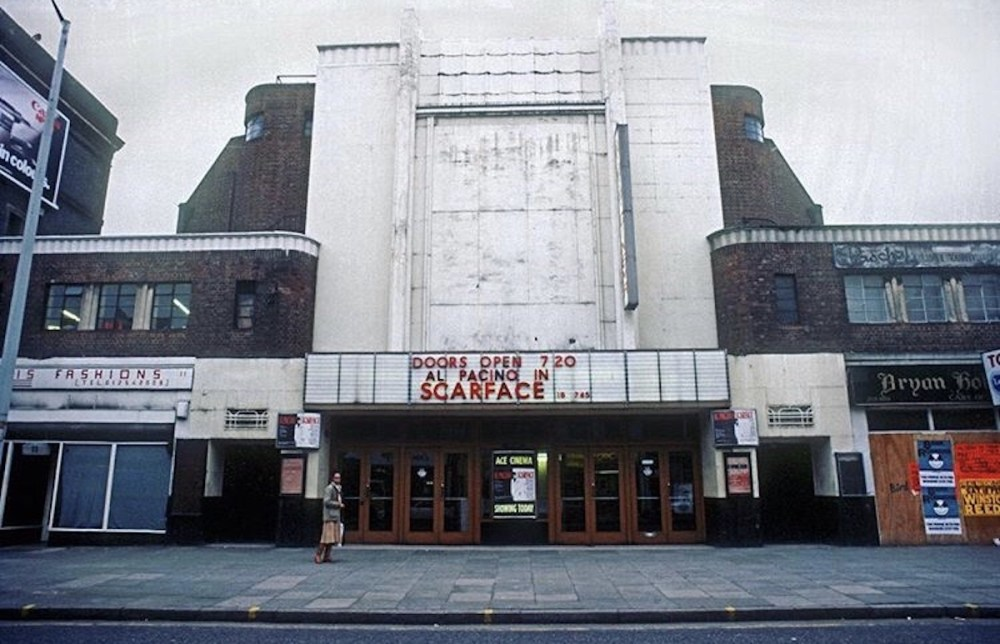 The Ace Cinema showing Scarface on it's closing day in 1984. Photo © Rio Cinema Archive.