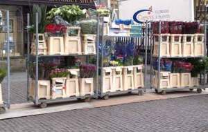 Trolleys piled high with flowers & foliage