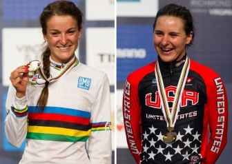 Lizzie Armitstead World Champion and bronze medalist Megan Guarnier. clearly delighted with their results