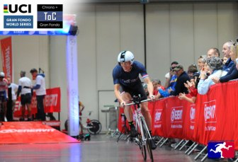 Riders on the Chrono will roll down an indoor start ramp and out onto the closed road course. Photo courtesy of Sportograf.com