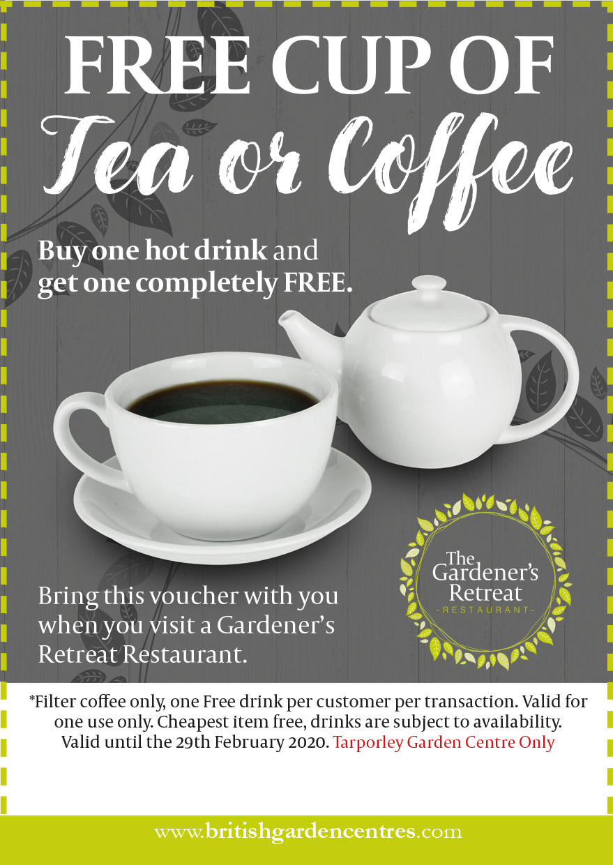 Free tea or coffee voucher at Tarporley