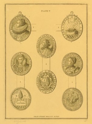 Plate of four Elizabethan coins, drawn and engraved by Francis Perry. ca.1760.