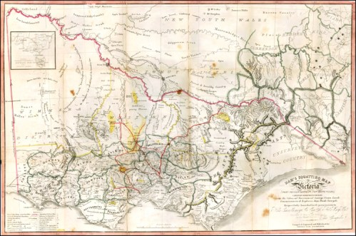 Ham's Squatting Map of Victoria, Port Phillip District, New South Wales. 1851
