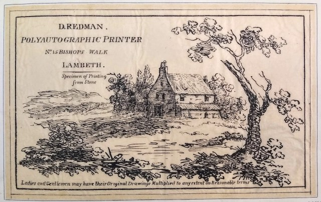 Redman's trade-card or advertisement of about 1815.