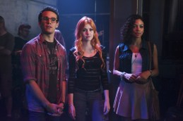 """SHADOWHUNTERS - """"The Mortal Cup"""" - One young woman realizes how dark the city can really be when she learns the truth about her past in the series premiere of """"Shadowhunters"""" on Tuesday, January 12th at 9:00 - 10:00 PM ET/PT. ABC Family is becoming Freeform in January 2016. Based on the bestselling young adult fantasy book series The Mortal Instruments by Cassandra Clare, """"Shadowhunters"""" follows Clary Fray, who finds out on her birthday that she is not who she thinks she is but rather comes from a long line of Shadowhunters - human-angel hybrids who hunt down demons. Now thrown into the world of demon hunting after her mother is kidnapped, Clary must rely on the mysterious Jace and his fellow Shadowhunters Isabelle and Alec to navigate this new dark world. With her best friend Simon in tow, Clary must now live among faeries, warlocks, vampires and werewolves to find answers that could help her find her mother. Nothing is as it seems, including her close family friend Luke who knows more than he is letting on, as well as the enigmatic warlock Magnus Bane who could hold the key to unlocking Clary's past. (ABC Family/John Medland) ALBERTO ROSENDE, KATHERINE MCNAMARA, SHAILENE GARNETT"""