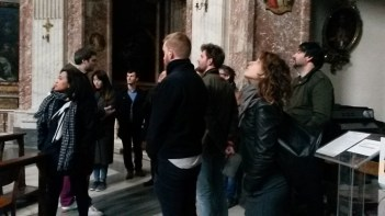 Assistant Director Tom True explains Bernini's architecture in Sant'Andrea in Quirinale