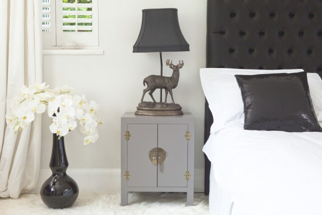 The French Bedroom Company Rama & Sita Slate Grey Bedside Cabinet