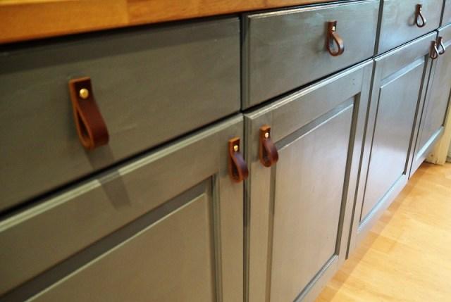 Leather cupboard pulls