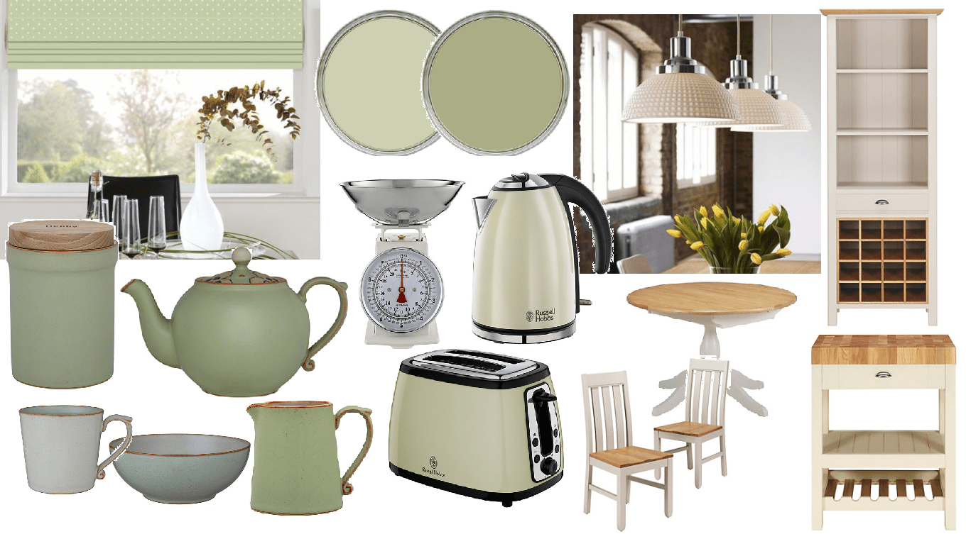 Pale Green And Cream Kitchen