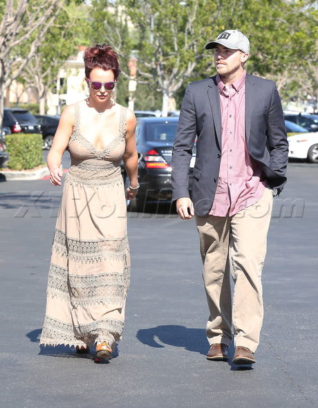 Britney Spears wears low cut dress to lunch date with boyfriend David Lucado