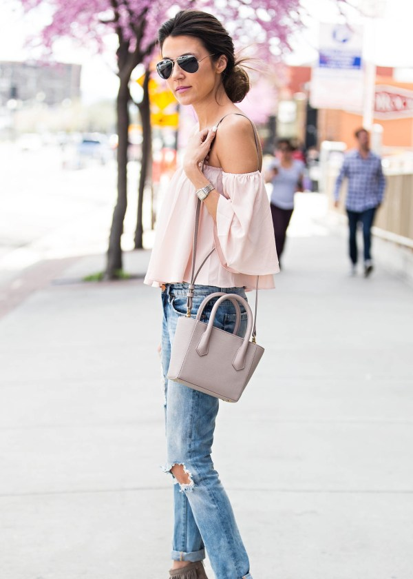 ruffled off the shoulder outfit