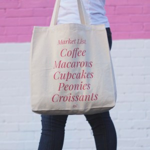 Market List Tote cupcakes macarons coffee peonies croissants hot pink tote