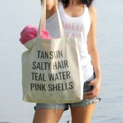Mermaid List canvas Tote pink shells tan skin salty hair