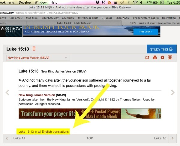 Compare Bible Translations on BibleGateway.com