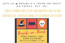 Come join BPC Staff on Oct. 26 for some Halloween fun @ Republic's Trunk or Treat