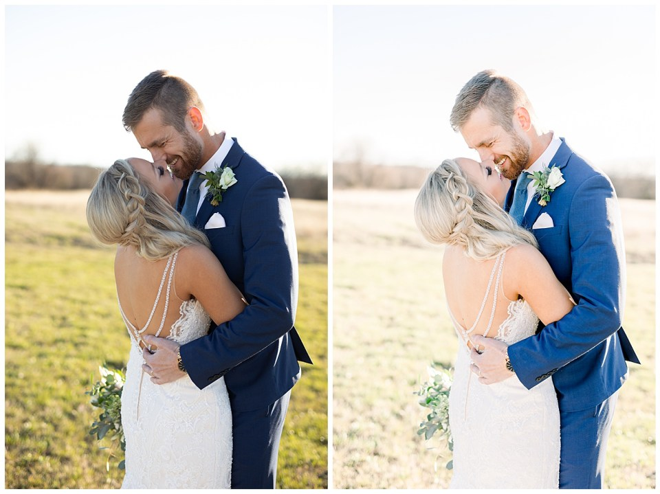 light and airy image before and after with bride and groom