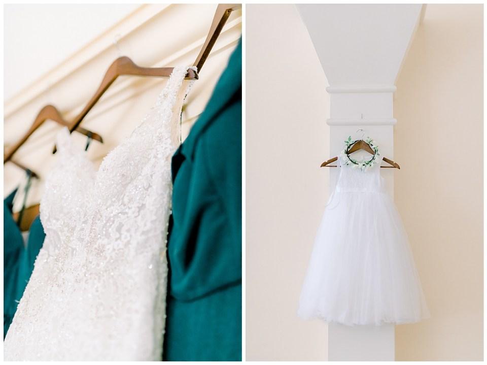 bridal dress detail and flower girl dress