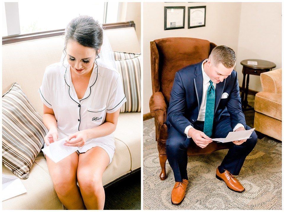 bride and groom reading letters to each other on wedding day