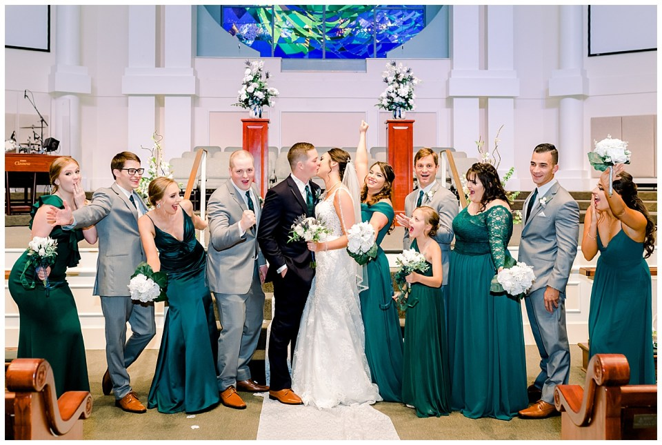 bridal party portrait after wedding ceremony in denham springs la